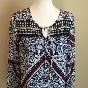 Halo Black &  Brown Tribal Print Shift Dress Sz M